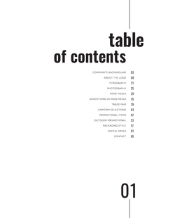 Cammachmore Table of Contents