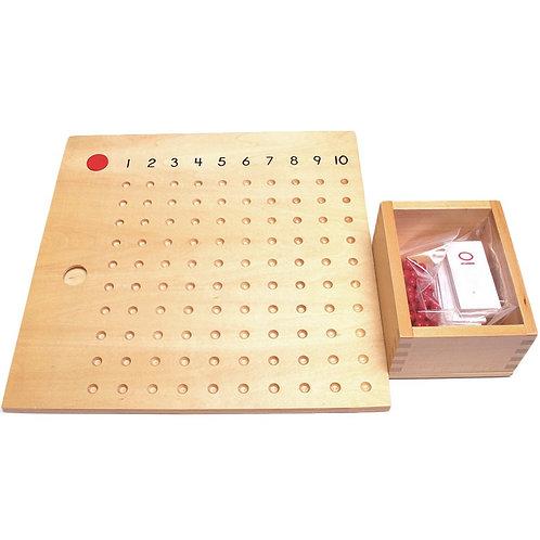 Tablero de multiplicar con caja y cuentas