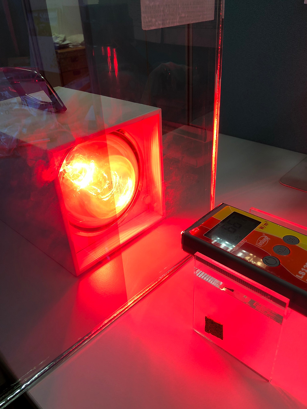 Heat lamp testing for window film