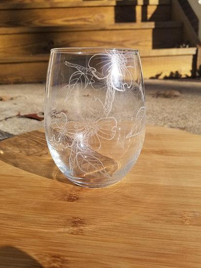 Dogwood Blossom Wine Glass