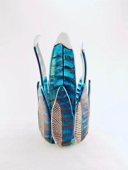 Blue Jay Feathers Vase