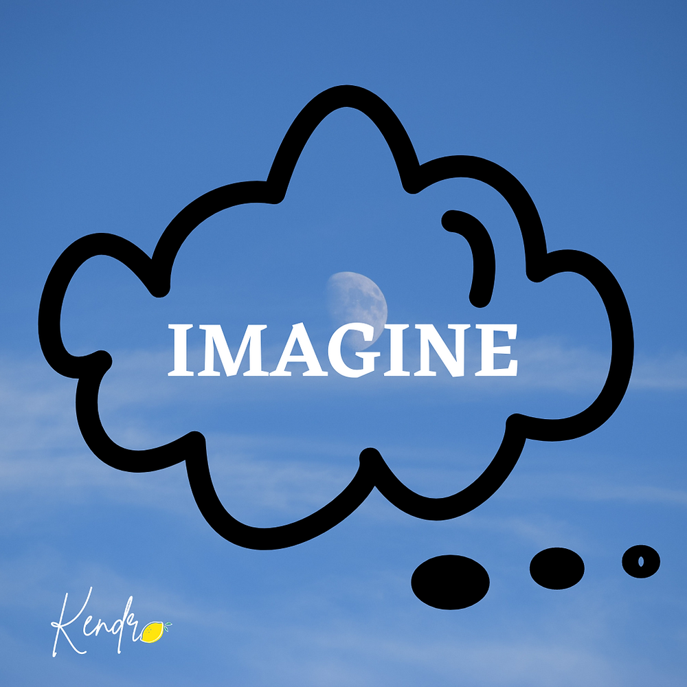 Light blue background with faded moon. Over the moon a word reads Imagine. Around the word is a thinking cloud in a black outline.