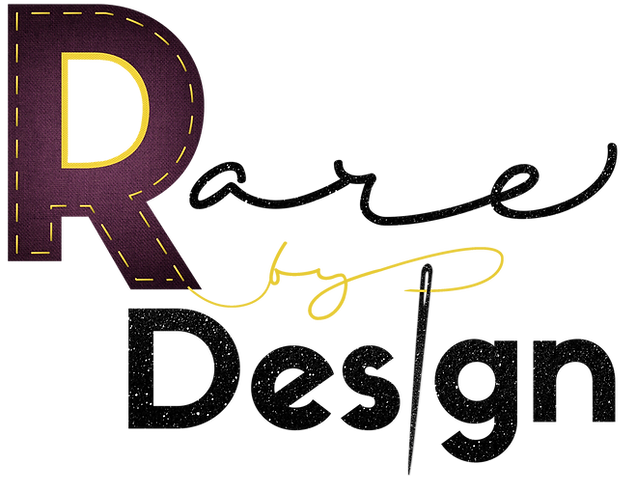 Logo of Rare by Design. The R of Rare is purple with yellow stiches. By is in yellow colored font. The word Design is in black glitter.