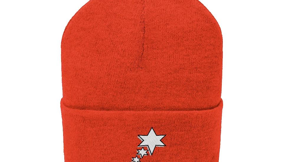 Knit Beanie - 6 Point 5 Stars (White)