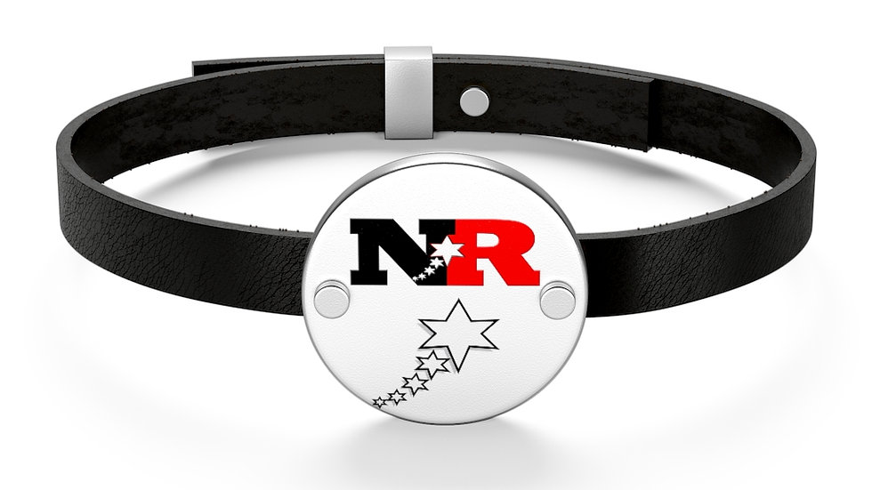 Leather Bracelet - 6 Points 5 Stars (White)