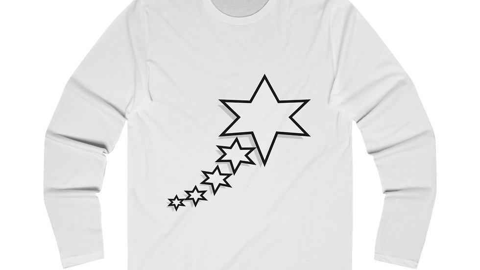 Men's Long Sleeve Crew Tee - 6 Points 5 Stars (White)