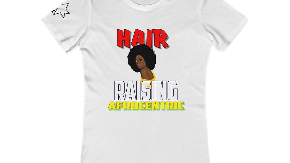 Women's The Boyfriend Tee - Hair Raising Afrocentric  V