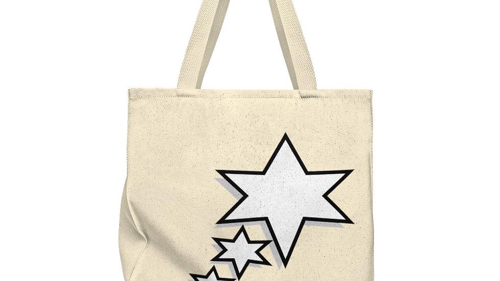 Shoulder Tote Bag - Roomy - 6 Points 5 Stars (White)