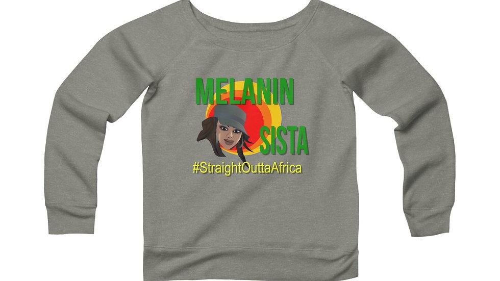 Women's Sponge Fleece Wide Neck Sweatshirt- Melanin Sista