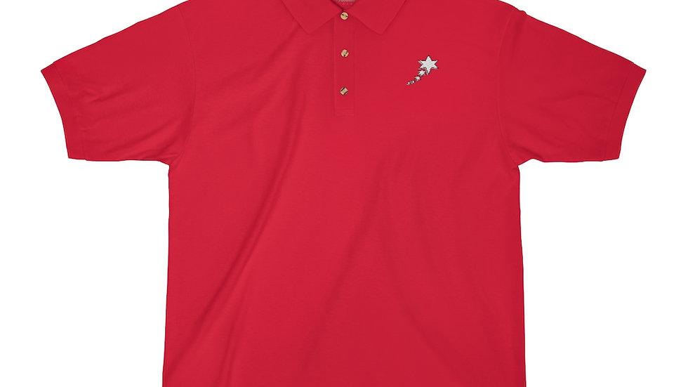 Men's Jersey Polo Shirt - 6 Points 5 Stars (White)