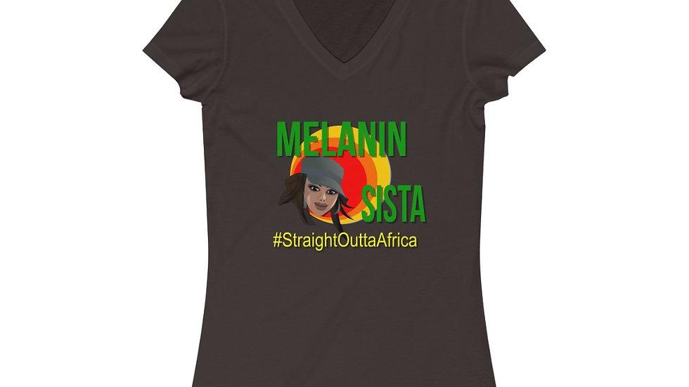 Women's Jersey Short Sleeve V-Neck Tee - Melanin Sista