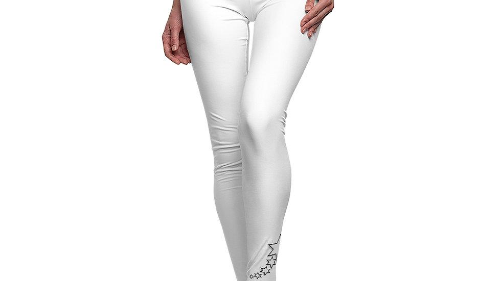 Women's Cut & Sew Casual Leggings - 6 Points 5 Stars (White)