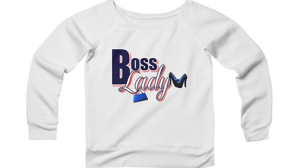 Women's Sponge Fleece Wide Neck Sweatshirt - Boss Lady