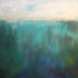 """In the Depths"" -- 48"" x 48"" mixed media on gallery wrapped canvas. Layers of turquoise, blues, and greens create an intense depth that call you into deeper rest and tranquility."