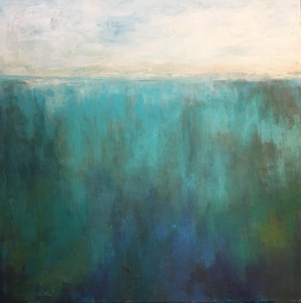 """""""In the Depths"""" -- 48"""" x 48"""" mixed media on gallery wrapped canvas. Layers of turquoise, blues, and greens create an intense depth that call you into deeper rest and tranquility."""