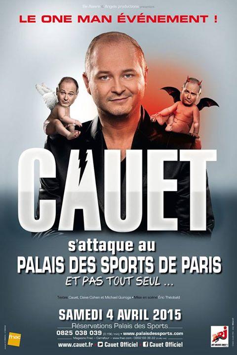 Cauet au Palais des sports de Paris, adaptation de l'affiche créée par l'agence Ioda