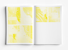 Inside pages of book showing only the yellow colour