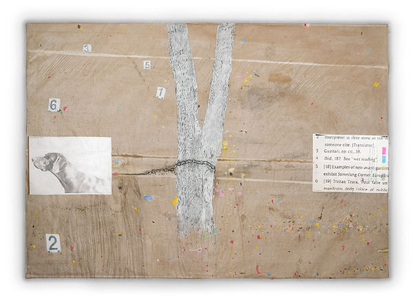 exhibition view of a painting showing an hunting dog chained to a tree. Collage, handmade paint, recycled printer ink, pencil