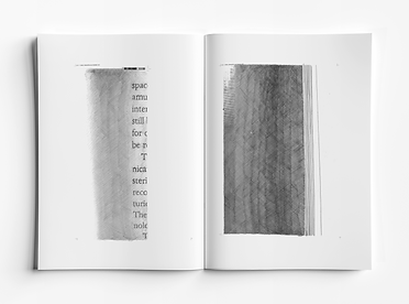 Inside spread of a handmade book. Pencil, collage, recycled priner ink. Text from Children of Ruin by Adrian Tchaikovsky