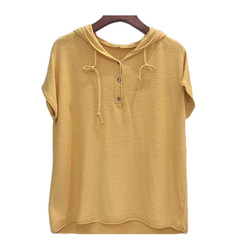 Blusa de Tricot com  capuz Amarela MM58