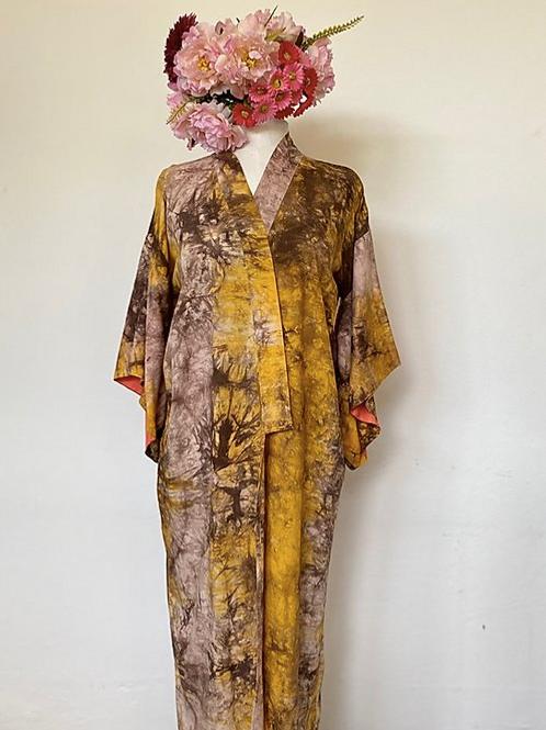 Kimono Kyoto Longo tie die Marrom MM40