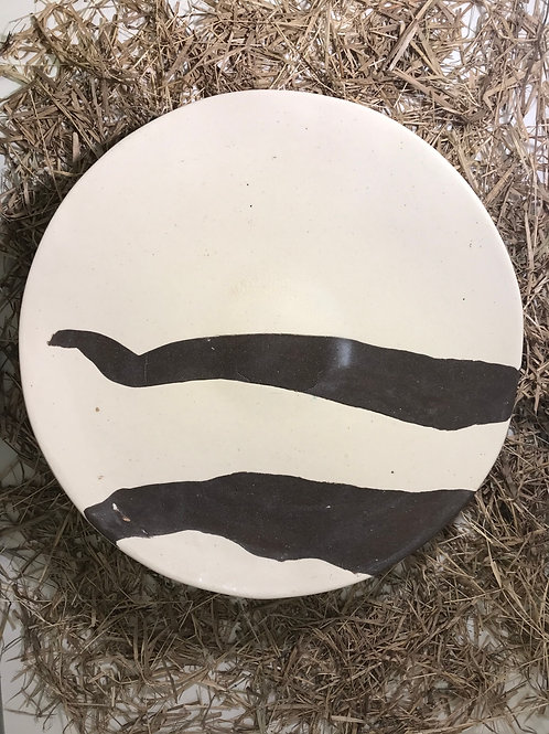 Prato extra grande esmalte transparente - argilas branca e terracota