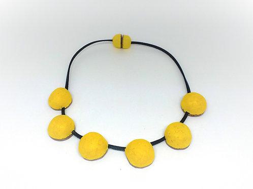 Colar Cabochão amarelo curto  MM09