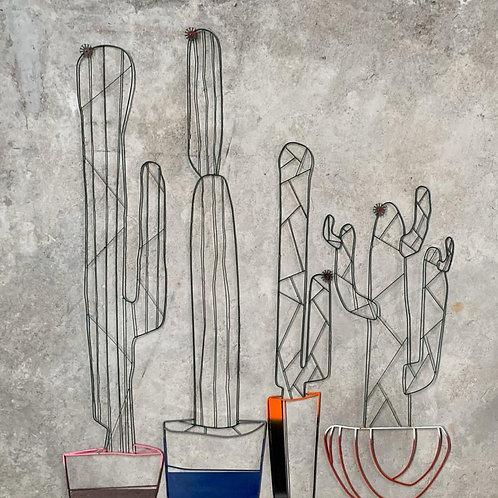 Escultura de parede conjunto 4 peças Cactus - 0025 A