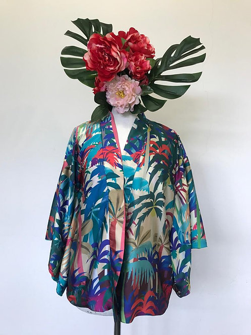 Kimono Kyoto curto forrado tecido fascino fundo salmão MM40