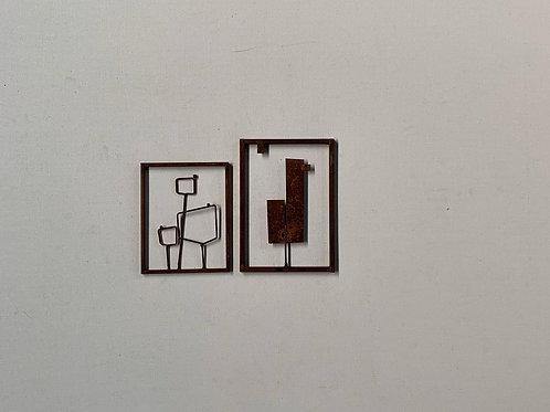 Escultura de parede conjunto 2 peças   - 0014