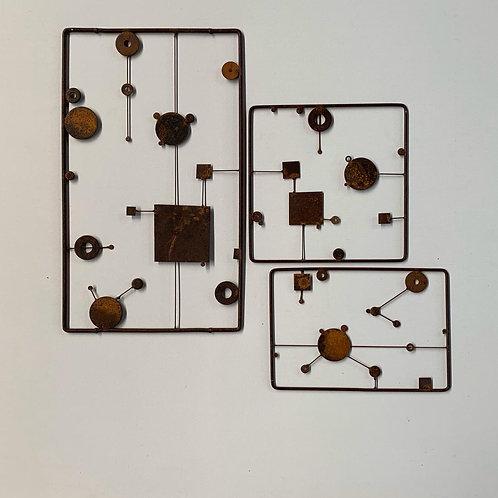 Escultura de parede - Conjunto 3 peças - 002