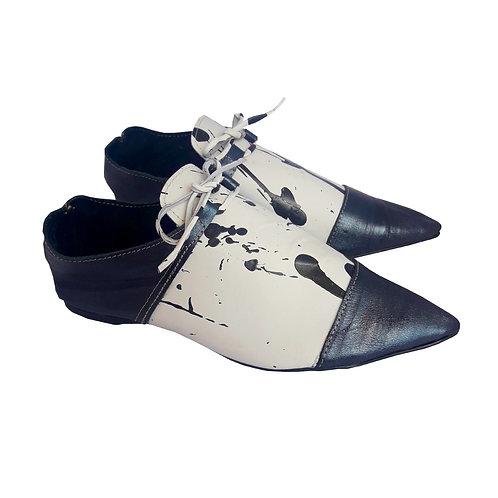 Sapato Ceci Branco e Preto Pintado a Mão MM23
