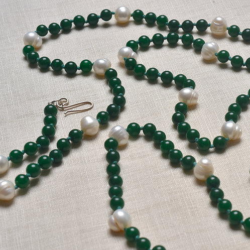 Colar Jade Verde com Pérolas MM27