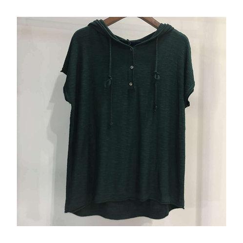 Blusa de Tricot com  capuz Preta  MM58
