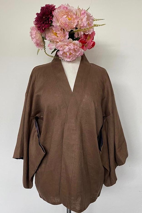 Kimono Kyoto linho puro Marrom com detalhe em paetê preto MM40