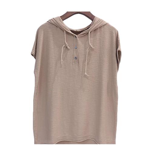 Blusa de Tricot com  capuz areia escuro MM58