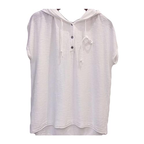Blusa de Tricot com  capuz Branca  MM58