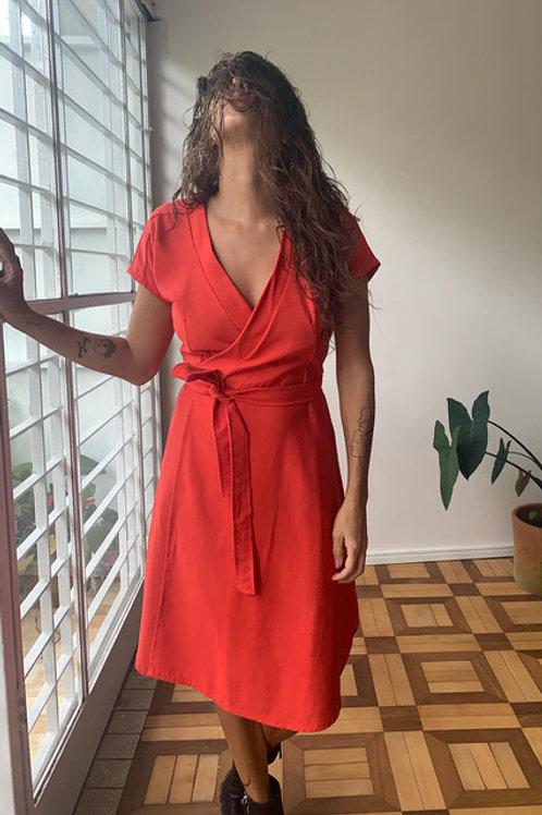 Vestido Carmen Cereja em Linho