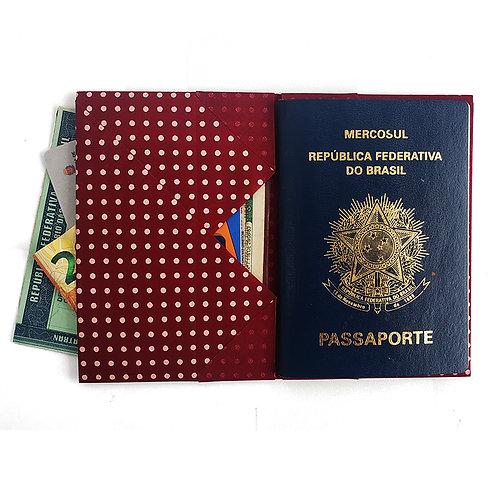 Porta Passaporte Vermelho_Bolinha Rosa MM74