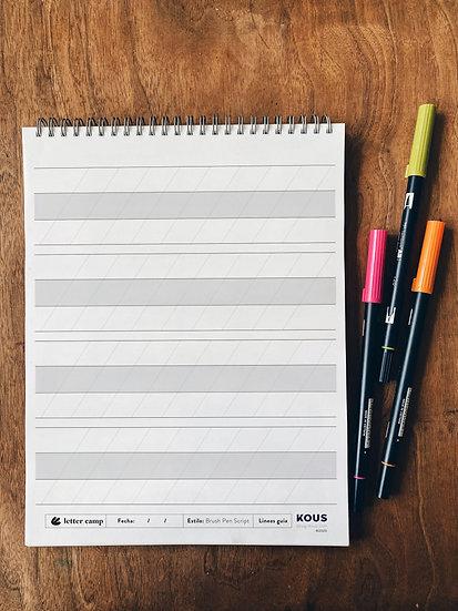 Libreta de lineas guía para practicar Brush
