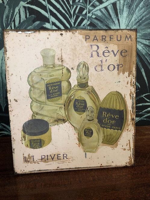 Ancienne plaque publicitaire parfum Rêve d'or