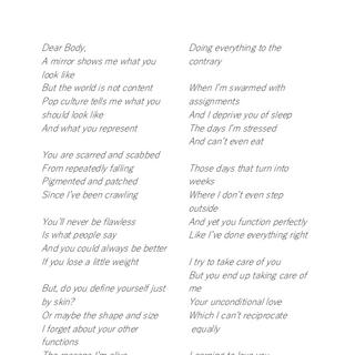 Dear Body Poem