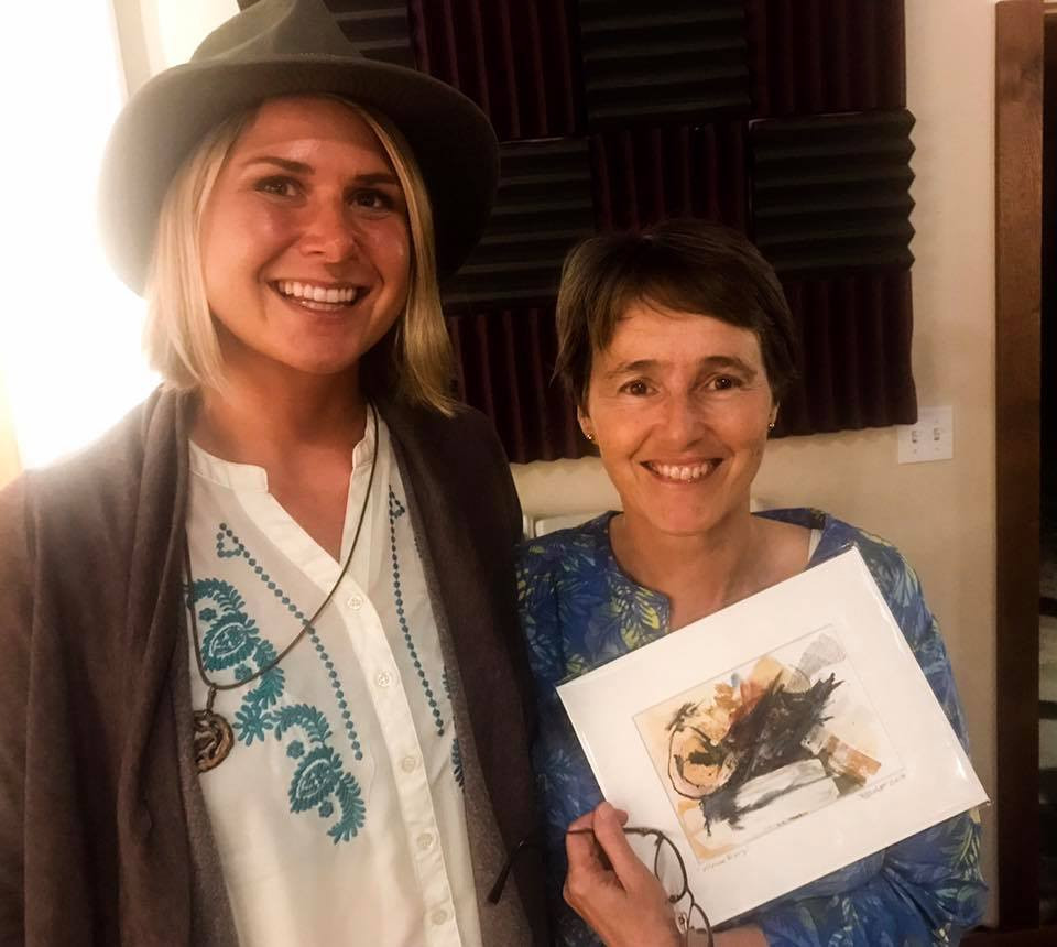 Hawai'i Volcano Observatory Scientist-in-charge, Tina Neal and Hawaii Artist Bailey Ferguson at Hawaii Volcano Art Center's 'Stories from the Summit'
