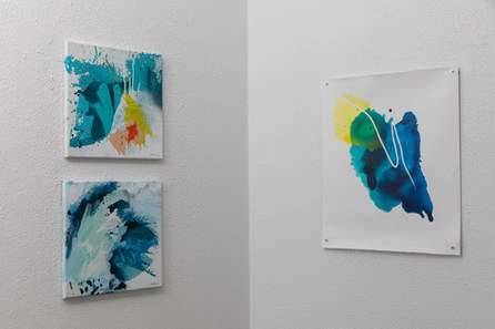 """Wipeout Series no5, no7 (12x12"""") and Mapless Blue no1 (20x16"""")"""