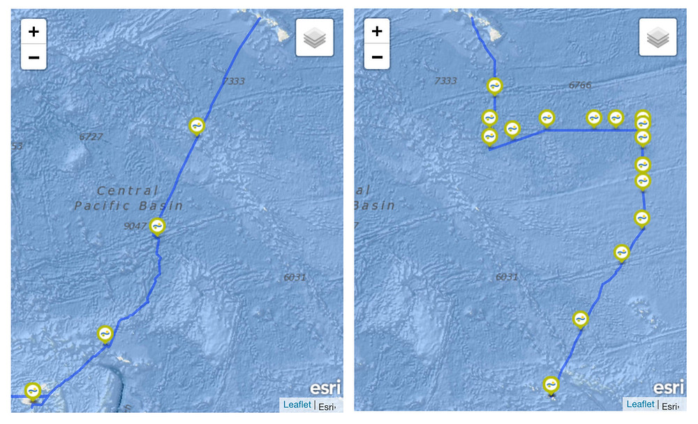 This Illustration shows the expedition for each artist's route from Hawai'i to Fiji (left, 2019) and Tahiti (right, 2016) Image Source: Schmidt Ocean Institute's Expedition Log