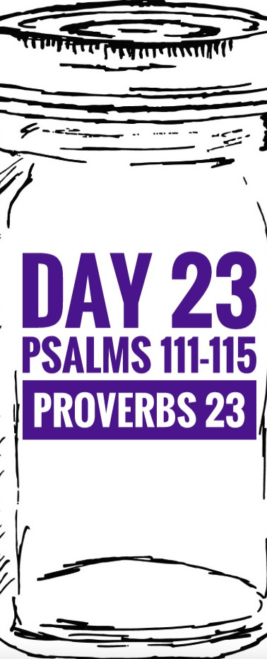 Day 23 Psalms 111-115 + Proverbs 23