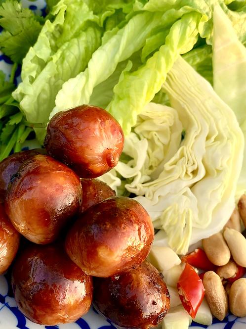 Sai Kro  - Isaan Sausage Spicy n Sour /Cilantro/Baby Garlic /White C Ginger