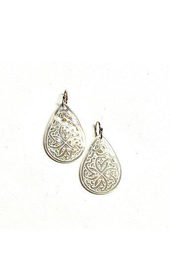 Mother of pearl carved teardrop earrings