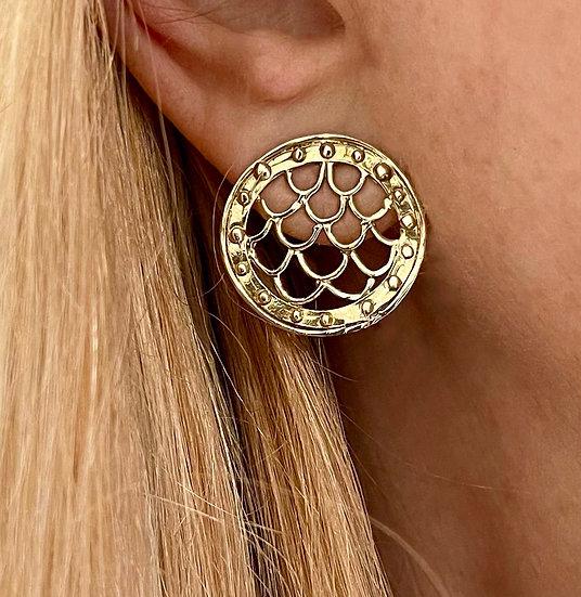 14k gold Porthole wave earrings