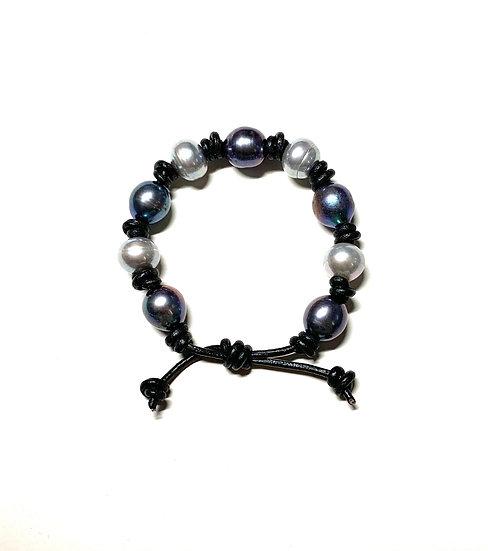 Black and grey pearls on black leather bracelet